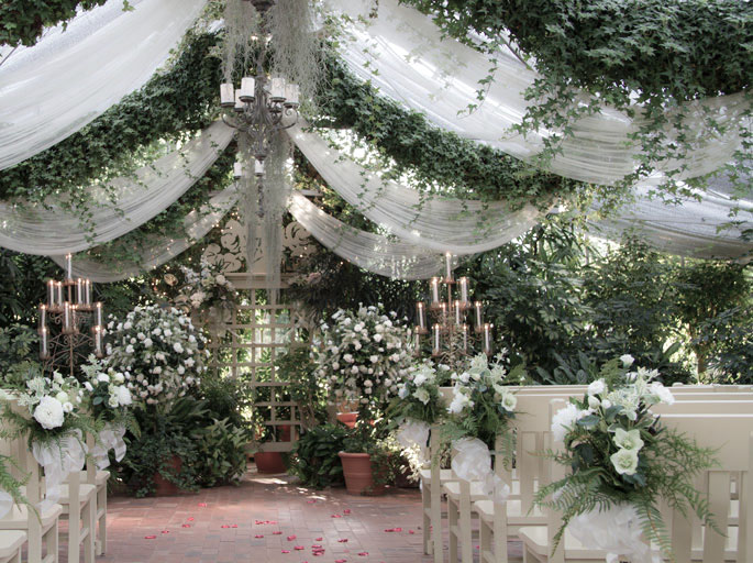 Bench Bouquets & Topiary - The Conservatory Garden Wedding Venue, St. Louis, MO
